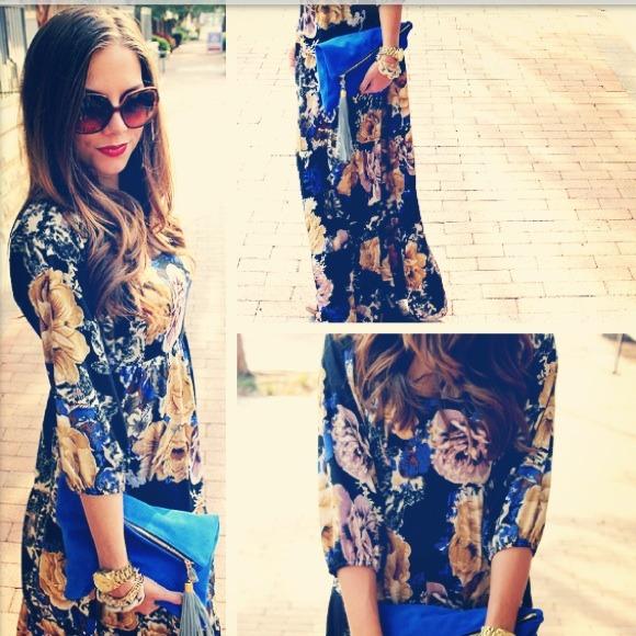 Black & Blue Maxi Dress
