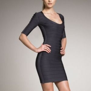 Herve Leger Dresses & Skirts - Herve Leger Half Sleeve Anthracite Gray M/8-10 NWT