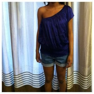 Purple/Blue off the shoulder ruffled top