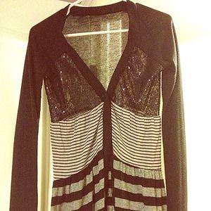 Black & Grey Sequin Sweater