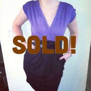*NWT* Sz M / L Purple &black Belted party dress