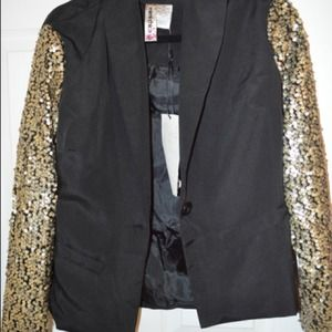 Black sequin sleeve blazer