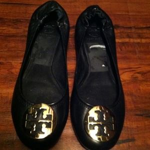 Tory Burch black with gold flats