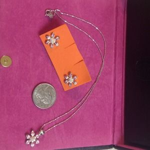 Jewelry - Sterling silver necklace with flower earrings.