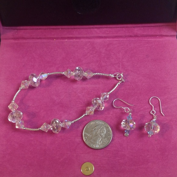 Pink/clear crystal Bracelet and earrings