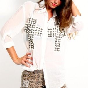 Tops - Reverse cross studded blouse