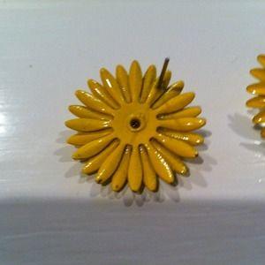 Jewelry - sOLD Yellow sunflower pierced earrings