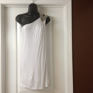 One shoulder Grecian dress w/ rhinestone shoulder