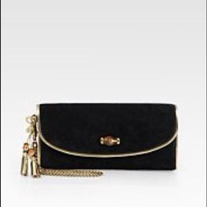 Gucci  Borsa Bamboo Night Suede Clutch Black NWT💓