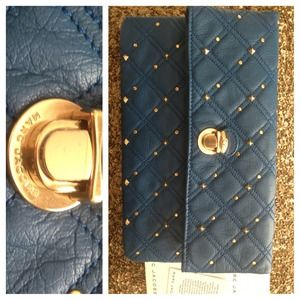 MARC JACOBS Blue Studded Clutch
