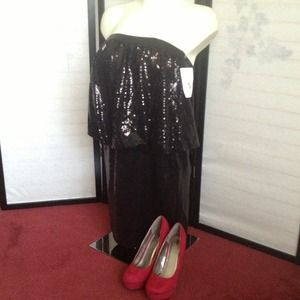 NEW Aidan Mattox Black Sequined Dress 6