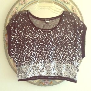 Joyce Leslie  Tops - Black sequenced shirt crop top