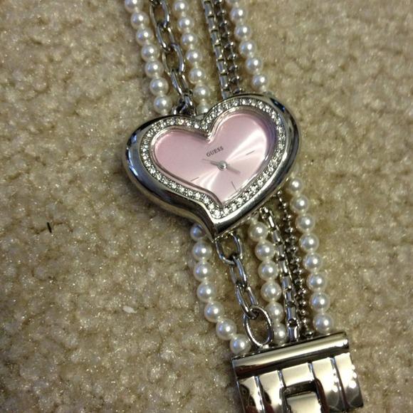 Guess Watch Pearl Bracelet Heart Pearl Bracelet Watch