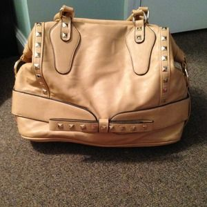 Camel colored studded dome satchel. Double straps.