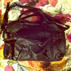 Handbags - Black Satchel Handbag Purse with Hot Pink Interior