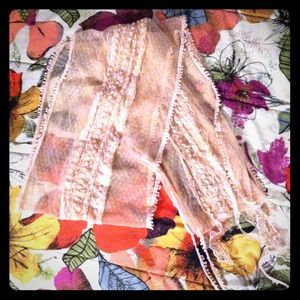 Accessories - Dreamy Pastel Pink Lace Scarf Dainty Retro
