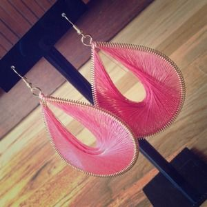 Pink threaded teardrop earrings