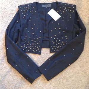 Studded crop black blazer
