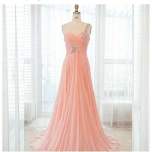 Pink/Peach One Shoulder Prom Dress