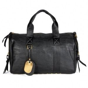 Black leather shoulder tote bag