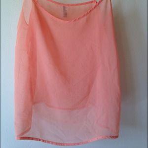 American apparel peach chiffon top xs
