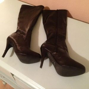 Aldo knee high black leather boots