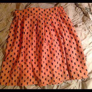 Cat print silk high waisted skirt small