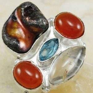 .925 Moonstone & Gemstone SS Ring ~ S7