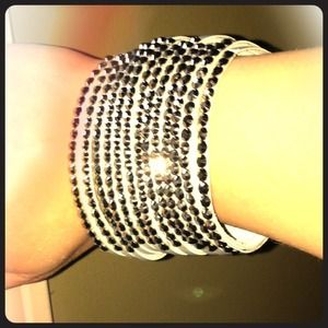 Yik Fung Jewelry - Yik Fung wide grey leather rhinestone bracelet NEW
