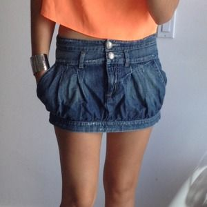 Dark Denim Puff Mini Skirt