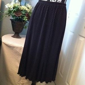 Chico's Dresses & Skirts - Stretchy long black skirt w/white dots.
