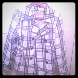 Outerwear - Black White and Grey Plaid Rain Coat
