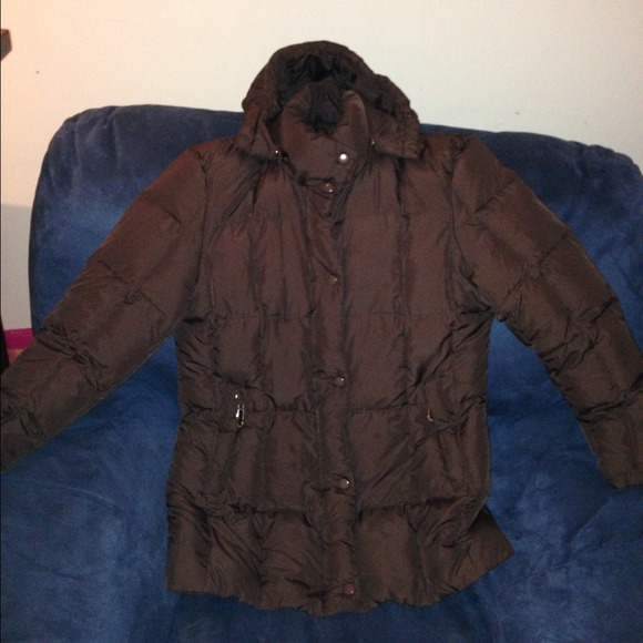 Brown bubble coat with hood M from J's closet on Poshmark