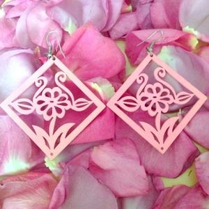 Jewelry - wooden floral earings