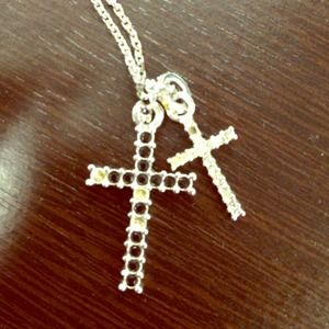 Swarovski double cross necklace