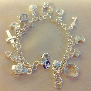 .925 Love & Good Luck SS charms bracelet - NWOT