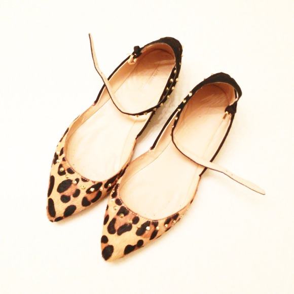 Zara Shoes - Zara studded animal print ankle strap flats