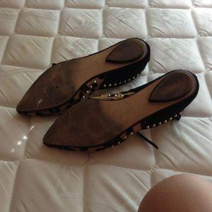 Zara Shoes - Zara studded animal print ankle strap flats
