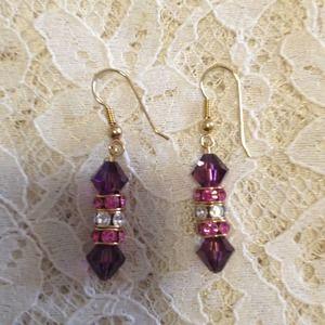 Swarovski crystal pierced earrings on kidney wire