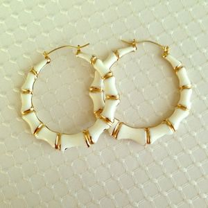 Accessories - White and gold colored hoop earrings