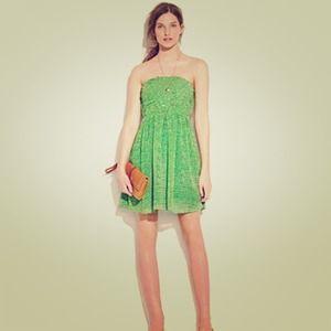 {madewell} silk Mini Green Dress