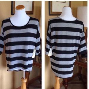 Black/Gray Stripes Hi-Lo Sweater