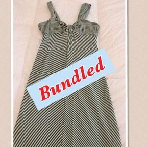 Max Studio Green  and Cream Striped Dress 