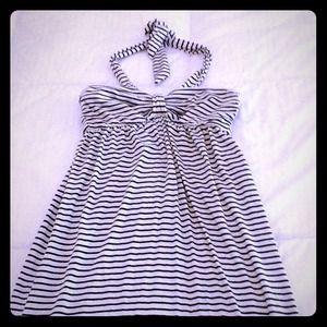 🌞🌞 Black & Cream Striped Halter Dress 🌞🌞