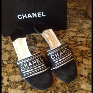 NOT FOR SALE -Chanel Sandals with kitten Heel