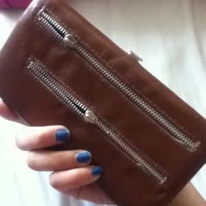 Brown zipper wallet