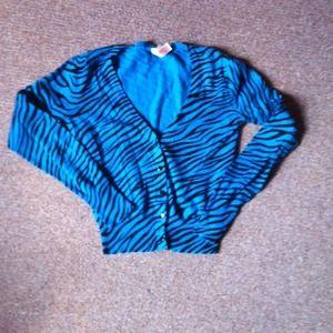Bright blue zebra print half cardigan