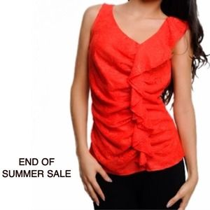 SUMMER SALE. Ruffled Lace Sleeveless Red Top