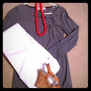 Michael Kors 3/4 sleeve blue/grey striped shirt