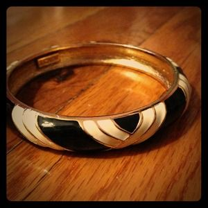 J. Crew Jewelry - J.Crew Black & White stripe enamel bangle